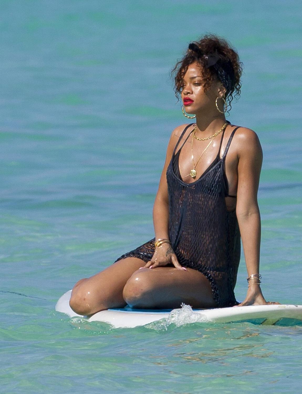 Sweet ebony babe Rihanna Rimes taking shower in her thong bikini  325699